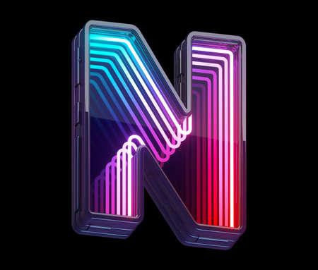 Infinity light neon font. Letter N.
