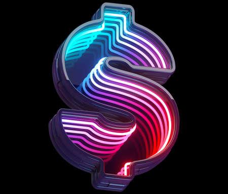 Infinity light neon font. Dollar symbol. Imagens