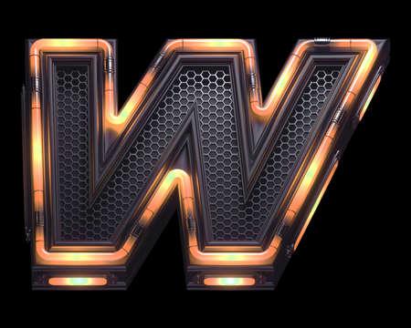Futuristic orange light font. Letter W.