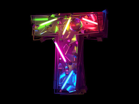 Abstract ultra neon font. Letter T.