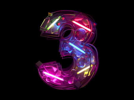 Abstract ultra neon font. Number 3.