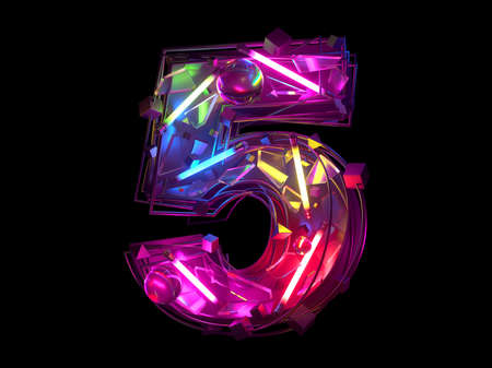 Abstract ultra neon font. Number 5.