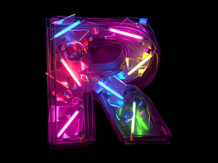 Abstract ultra neon font. Letter R.