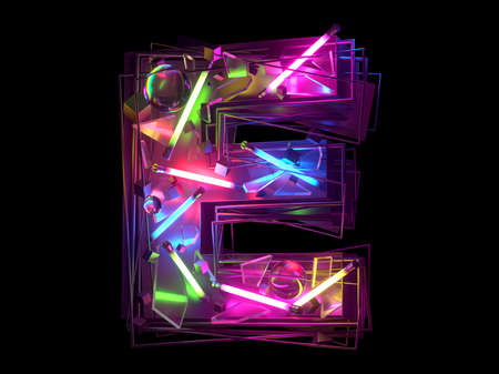 Abstract ultra neon font. Letter E. Banque d'images