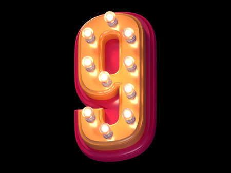 Light lamp glowing font. Illuminated red and yellow plastic symbol. Number 9. Imagens