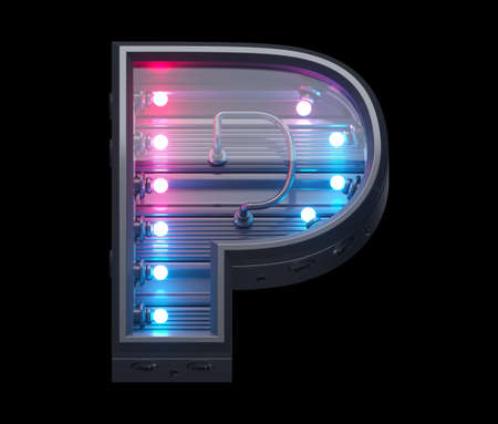 Ultraviolet lamp futuristic font. Letter P.