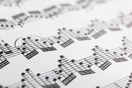 A detail of sheet music for solo violin. photo