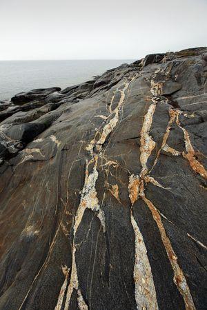 eiszeit: Einige striped Felsformationen, die von der Eiszeit gebildet
