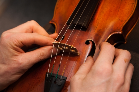 handicraft: A violinmaker making repairs on a violin in his shop. Stock Photo