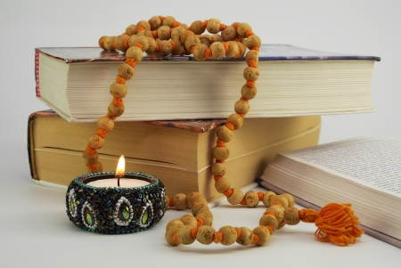 Spiritual books With Japa Mala Beads Stock Photo - 21449956