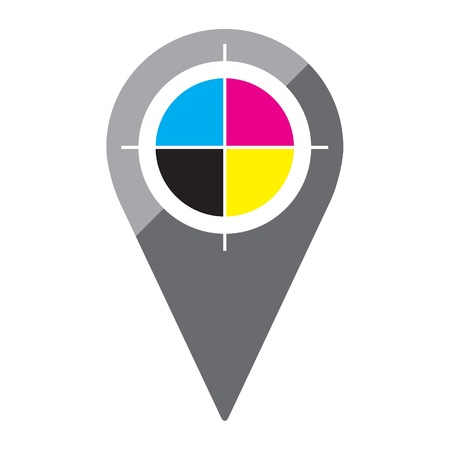 registration: A simple, clean map pin in a flat or metro graphical style with the CMYK registration mark in its center  Recommend usage  mark your local print shop or graphics office on a map