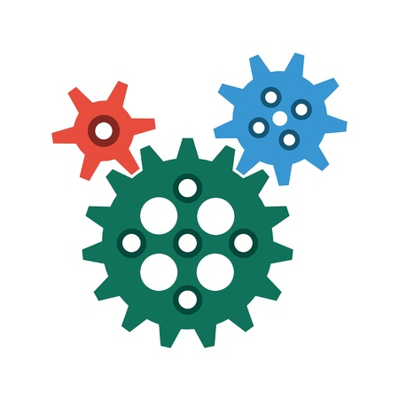 3 different sized, interlocking gear profiles in a flat or metro graphical style  The gears are in red, blue and green  The gears are based on mechanically correct proportions and measurements, and therefore, animate perfectly  They can be rearranged