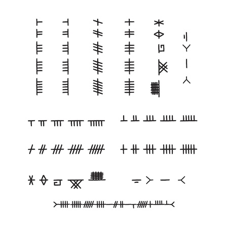 Ogham runic alphabet organized by consonants and vowels  This is the ancient, Celtic writing found on stones primarily throughout Ireland  The EPS file contains the names of each rune in the layers palette  The alphabet is represented in 2 script styles Stock Vector - 22175714