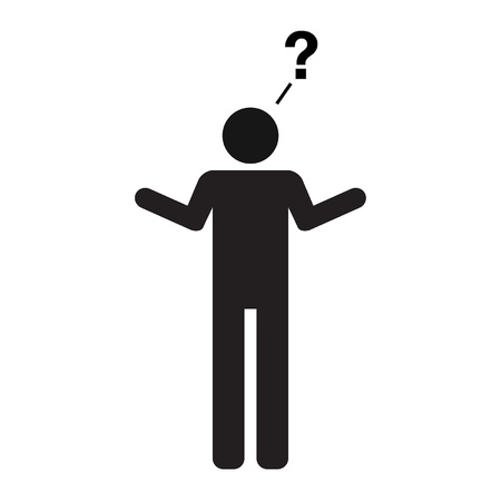 no idea: A pictogram representation of a human with a question  Recommend usage  I have no idea, how about you