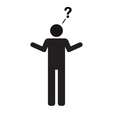 Een pictogram weergave van een mens met een vraag aanbevelen gebruik Ik heb geen idee, hoe zit je