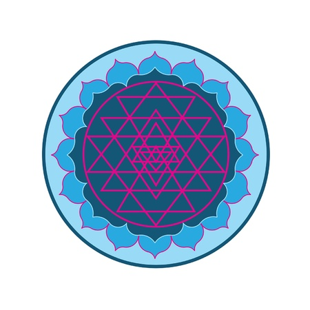 eastern spirituality: The Sri Yantra symbol composited with a lotus flower in a mandala  Recommended usage  print as a sticker, add to your website, or even make it a patch for your yoga mat bag  Namaste