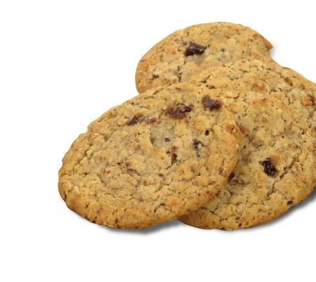 Oatmeal raisin cookies, on white background  Stock Photo