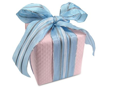 Gift box with pink windowpane wrapping tied with blue ribbon. Stock Photo