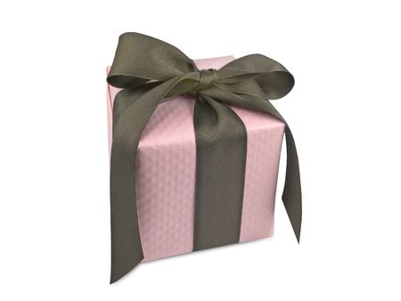Gift box with pink windowpane wrapping tied with brown ribbon.
