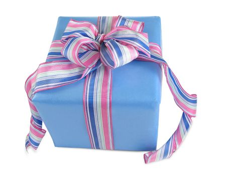 Blue Gift Box with Pink and Blue Striped Bow photo