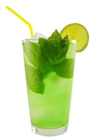 Refreshing cold Mint Julep Cocktail against a white background. Stock Photo