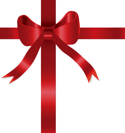 Red gift bow in Illustrator vector format.  Can be scaled to any size without lose of quality. Çizim