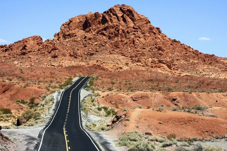 oad going through the Valley of Fire State Park of Nevada. Stock Photo