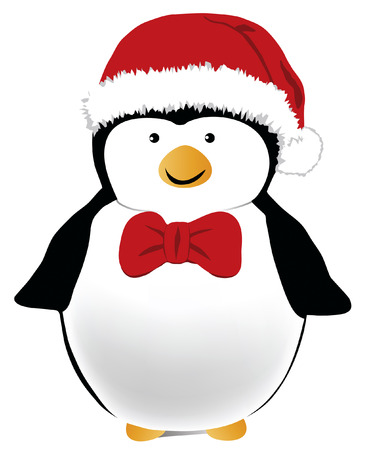 scaled: Happy looking penguin with a red Santa hat and bow tie.  Designed in Illustrator vector format.  Can be scaled to any sized without loss of quality.