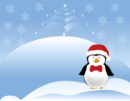 holiday: Happy looking penguin with a red Santa hat and bow tie with Christmas tree.  Designed in Illustrator vector format.  Can be scaled to any sized without loose of quality.