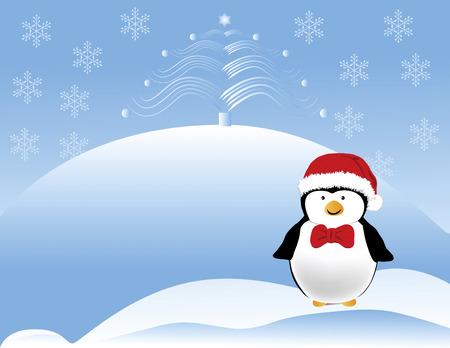 Feliz buscando pingüino con un sombrero rojo de Santa y pajarita con árbol de Navidad. Diseñado en formato vectorial Illustrator. Se pueden ampliar a cualquier tamaño sin pérdida de calidad.