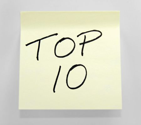 Top 10 Printed on a Post-It Note