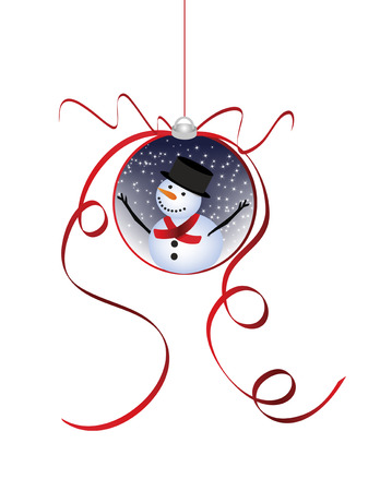 be lost: Christmas snowman ornament designed in Illustrator vector format.  Can be scaled to any sized without lost of quality.  Illustration