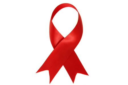 Red ribbon symbol for AIDS and HIV Awareness. Stock Photo - 3596347