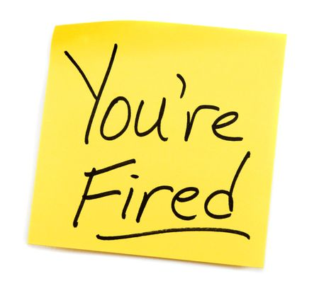 Yellow Post-it note with You're Fired message. Stock Photo - 3842806