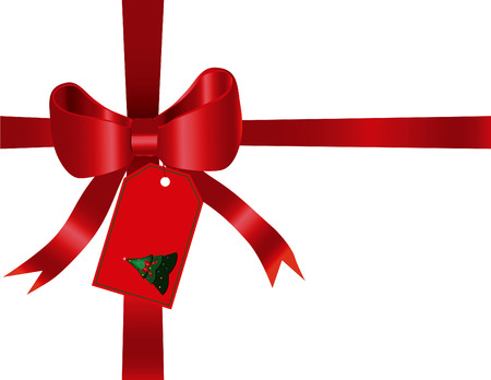 Red gift bow and ribbon designed in Illustrator. Illustration