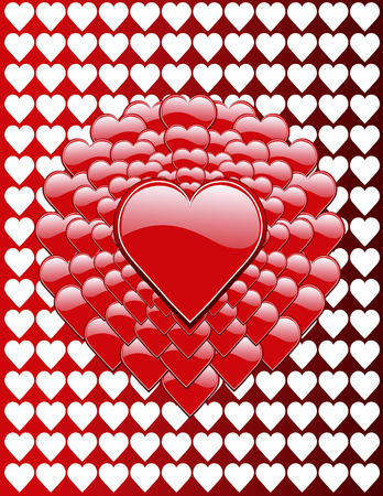 Cluster of Valentine hearts shaped into a flower against a heart background.