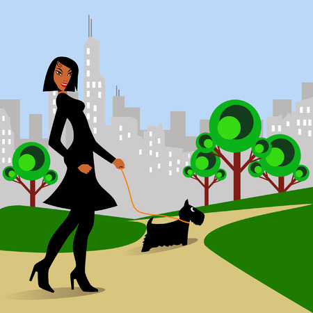 young lady: Afro-American woman walking Scottish Terrier dog in park. Illustration