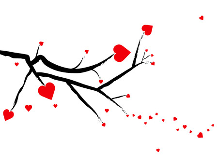 Valentine hearts growing from tree branches against a white background.  Illustration