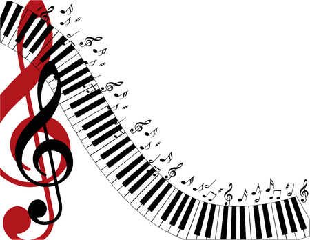 Piano keys swirling down the page with a large red treble clef.