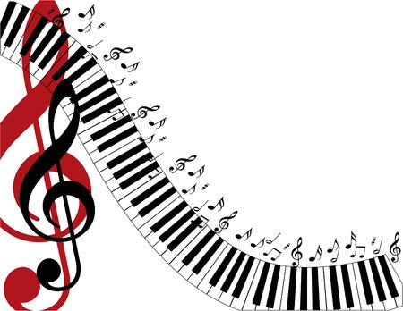Piano-Tasten Schütteln Sie die Seite mit einem großen roten Violinschlüssel. Standard-Bild - 4585335
