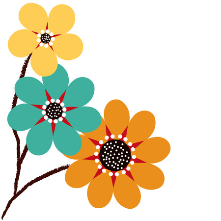 Three abstract daisies against a white background. Ilustração
