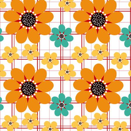 textiles: Three Daisies Seamless Pattern