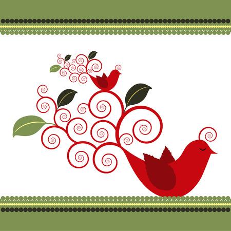 Twee geïllustreerd Quail vogels met bladeren groeit uit krul staarten. Stock Illustratie