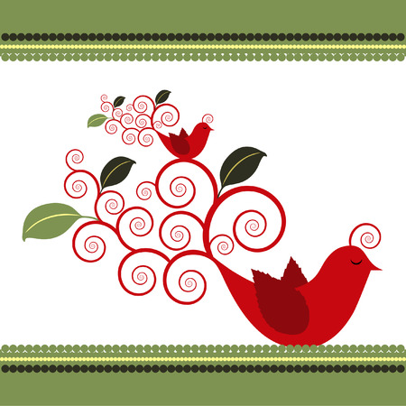 Two illustrated Quail birds with leaves growing from swirl tails. Stock Vector - 5039860