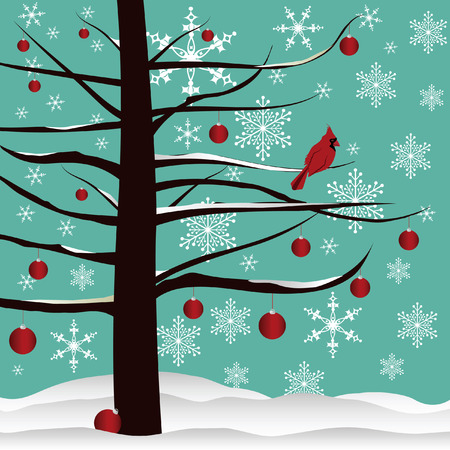 Christmas tree background designed with red Cardinal, red ornaments, snow  and snowflakes. Illustration