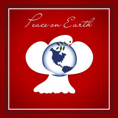 paloma de la paz: Paloma de la Paz con alas envueltas en todo el planeta Tierra, con una rama de olivo.