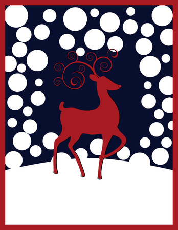 Rudolph the Red-nosed Reindeer with red swirl antlers, white round snowflakes against a dark blue background.