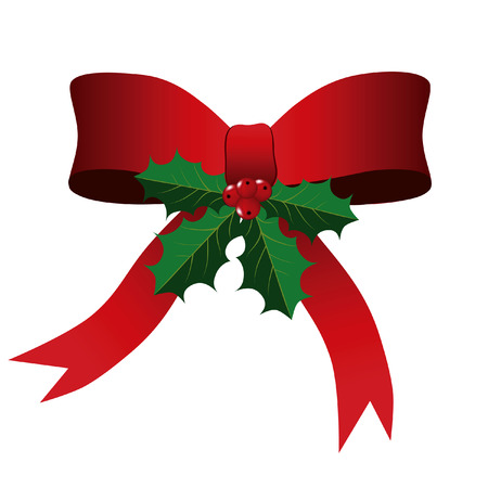 Red Bow en Holly Leaves Christmas Background