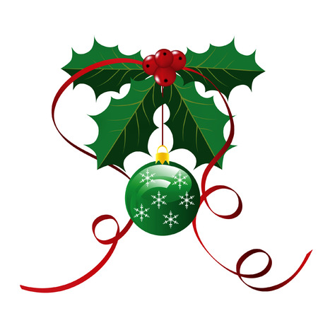 Holly Leaves and Ornament Christmas Background Ilustrace