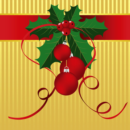 Holly Leaves, red berries and ornaments against a gold striped background.